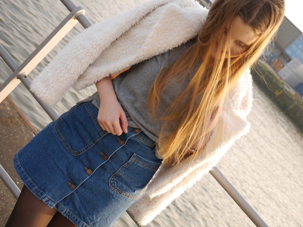 Button Front Denim Skirt (2)